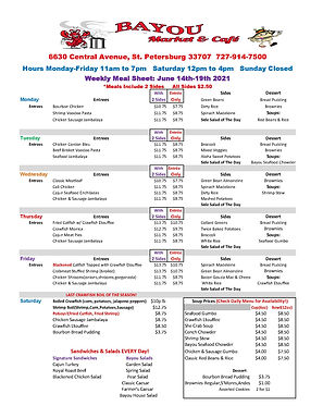 BMC Weekly Meal Sheet June 14th to 19th