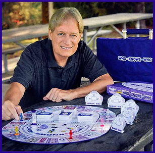A little about the inventor and designer pictured with the board game.