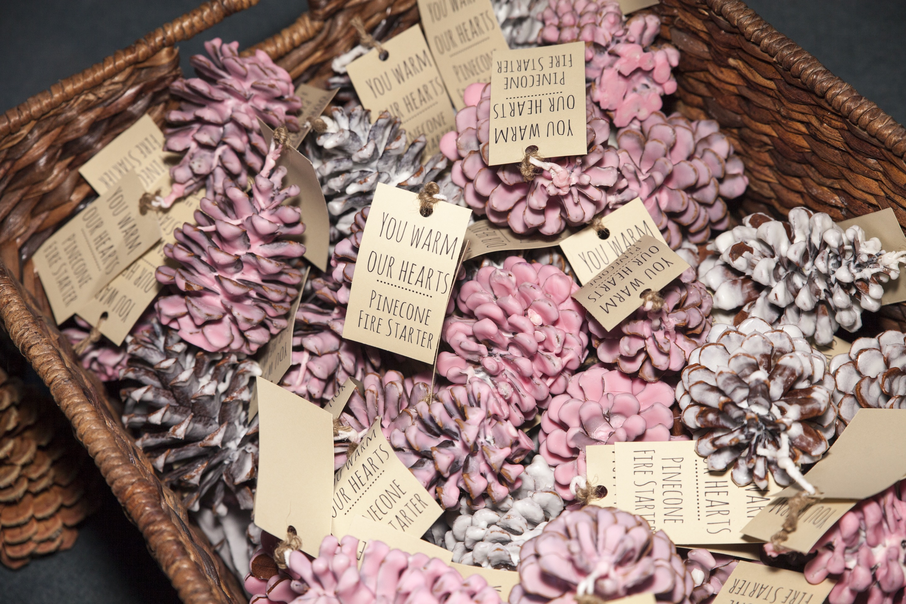 DIY Wedding Favors: Pinecone Fire Starters | Escape Reno