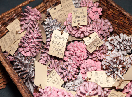 How to DIY Wedding Favors: Pinecone Fire Starters