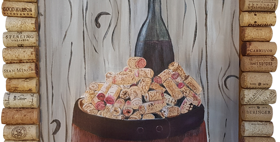 "Wine Barrel Cork Framed Painting   11""x 14"""