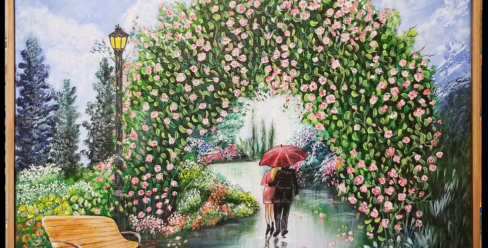 """Romantic Rainy Walk Framed 16"""" x 20"""""""