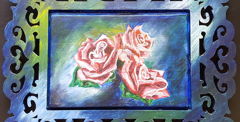 """Roses Blue Framed 5"""" x 7"""""""