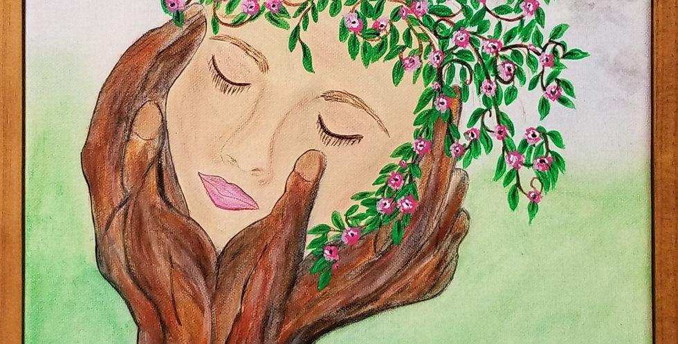 """Tree Face Framed  11"""" x 14"""""""