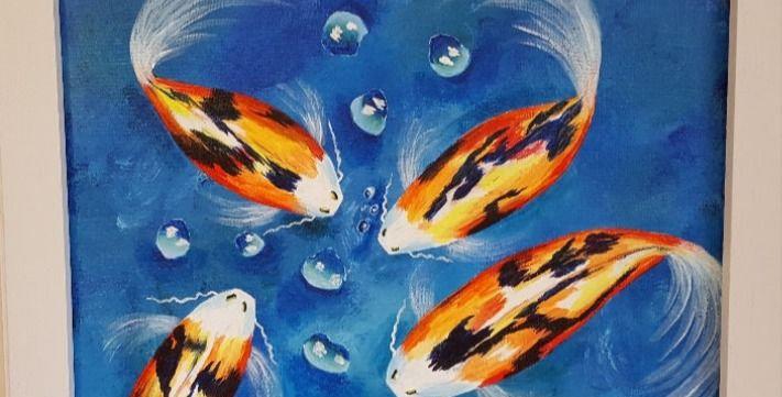 "KOI FISH FRAMED  11"" x 14"""