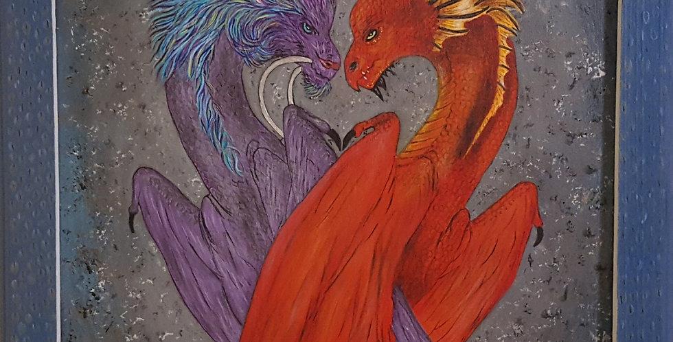 "Dragons Framed   14"" x 18"""