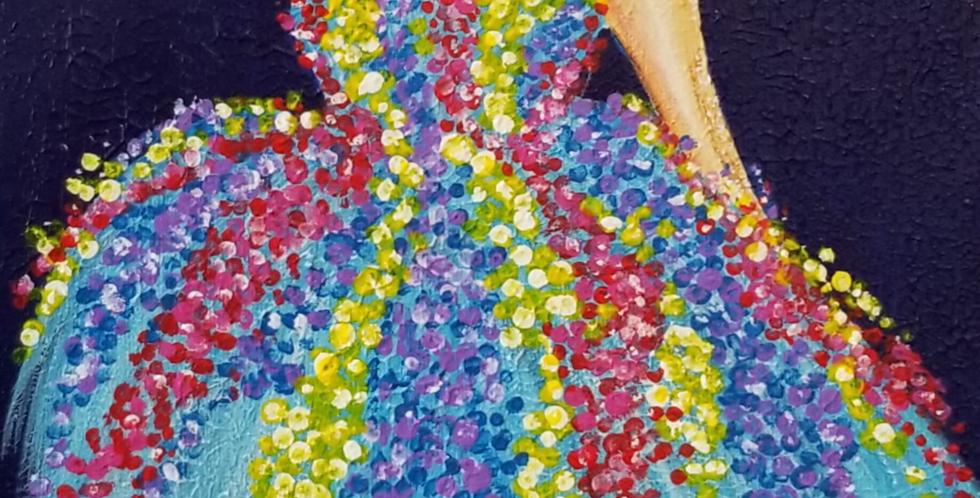 "Girl light blue dress Painting 10""x 20"""