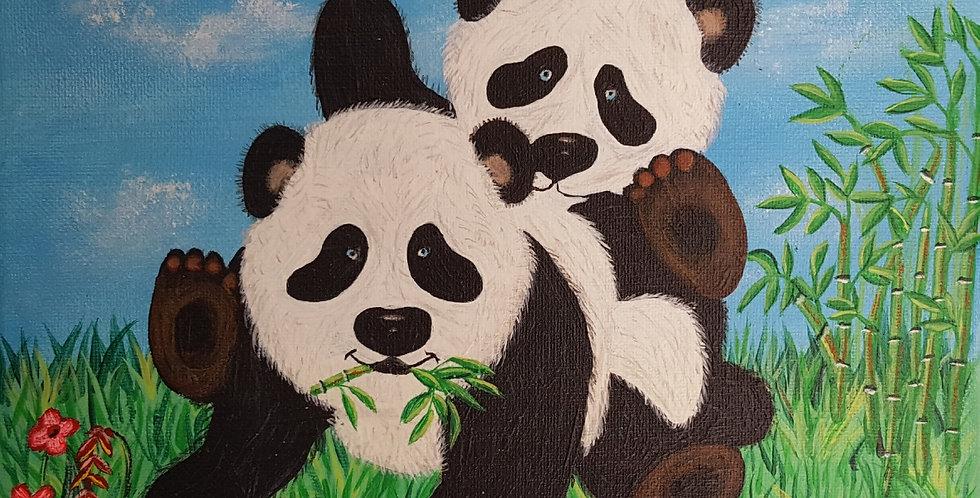 """PANDA BEARS  10"""" X 10"""""""