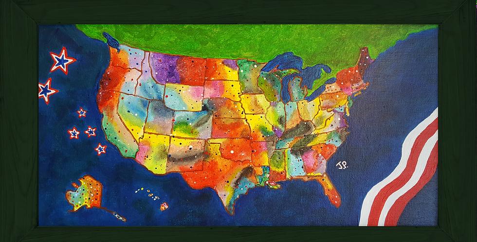 "USA  GREEN WOOD FRAMED 10""x 20"""