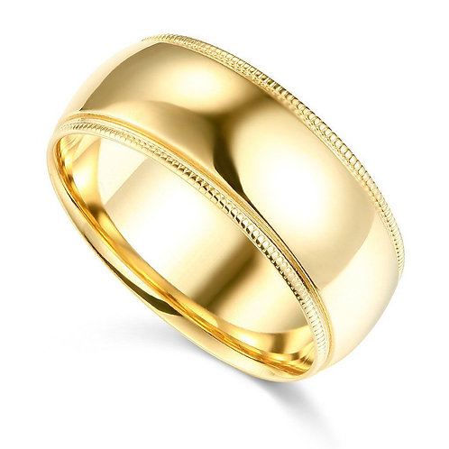 14k Yellow Gold 8-mm Comfort-fit Milgrain and polished Wedding Band