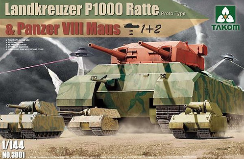 Takom 3001 - Landkreuzer P1000 Ratte & Panzer VIII Maus - 1:144
