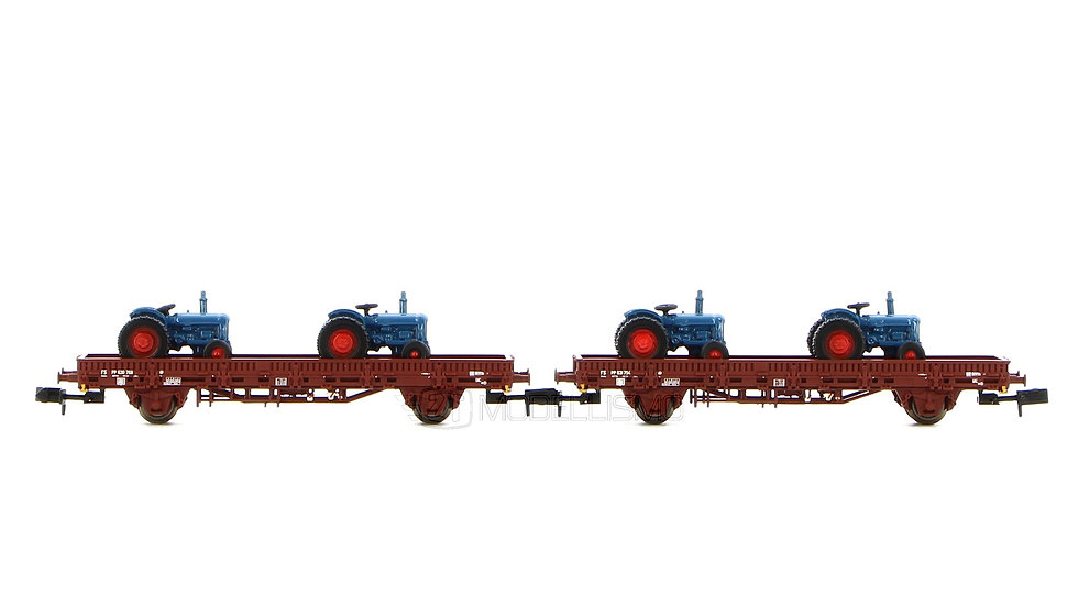 Arnold HN6489  - Set di due carri pianali ad assi tipo Ks con stanti -Scala N