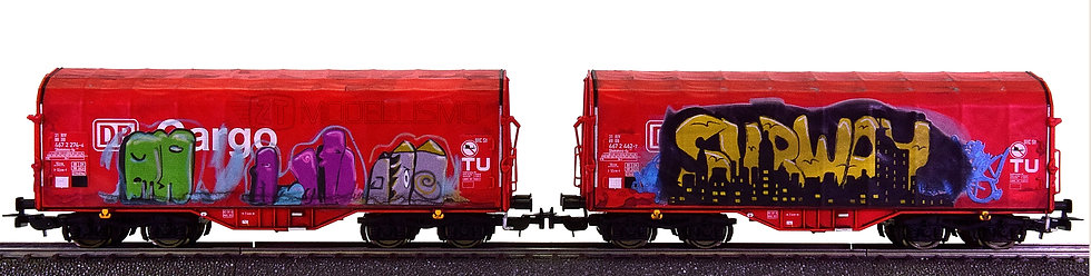 "Piko 58362 - Set di due carri telonati con ""graffiti"", DB Cargo - H0"