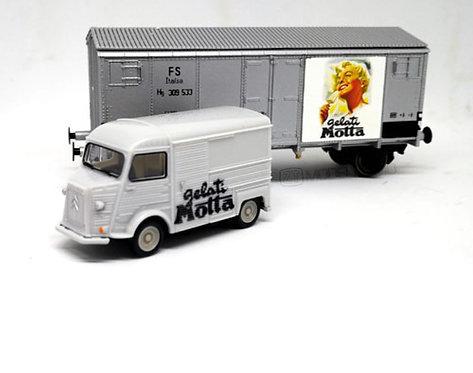 """Blackstar BS00021 - Set """"Motta"""" con carro Hg, FS + furgone Citroen - H0"""