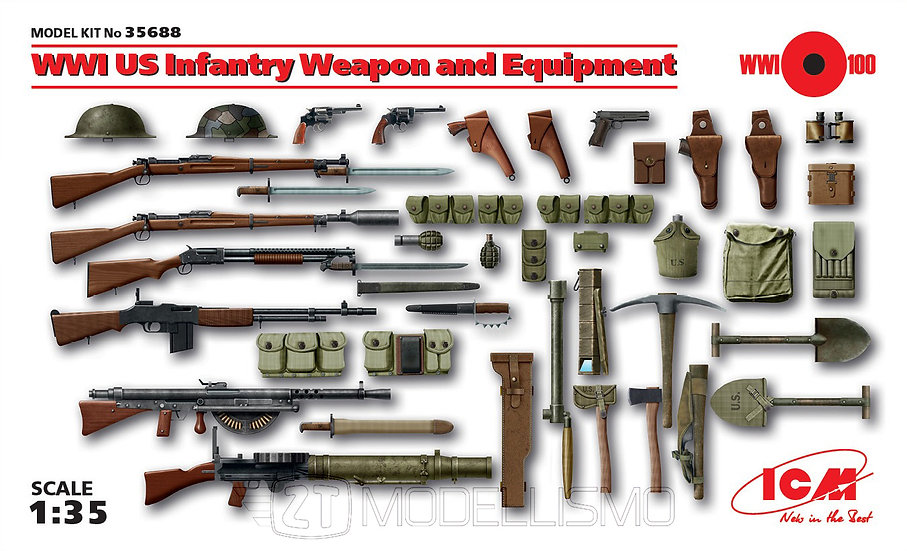 ICM 35688 - WWI US Infantry Weapon and Equipment - 1:35