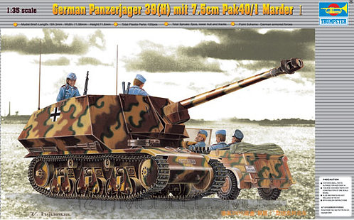 Trumpeter 00354 - German Panzerjager 39(H) mit 7.5cm Pak40/1 Marder -  1:35