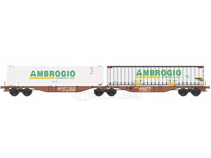 "B-models 59304 - Sggmrss I-AMSR 90' con due container 45"" ""Ambrogio"" - H0"