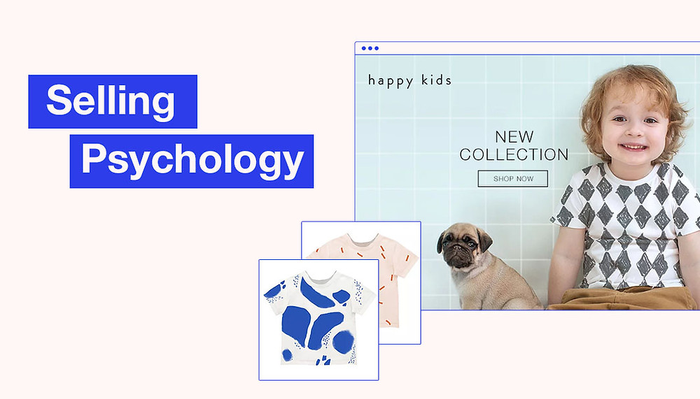 psychology of selling, smiling child, pug puppy, website, psychology tips