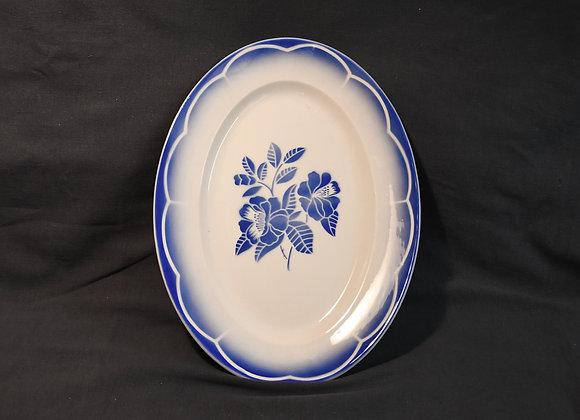 Plat Ovale Fleur Bleue