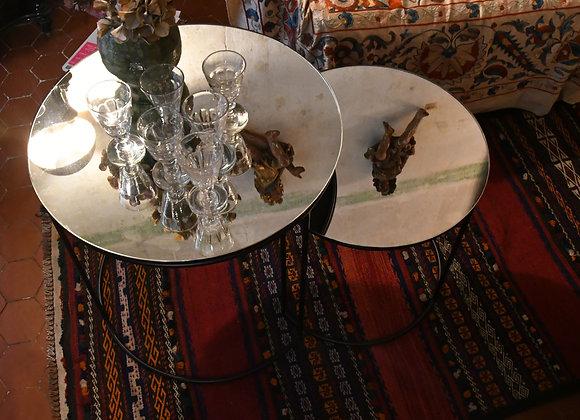 2 coffee table miroir patiné mercurisé