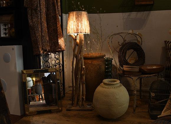 Lampe sur pied, bois et laine