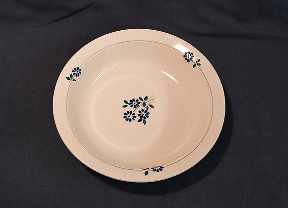 Plat rond ancien décor fleurs bleues