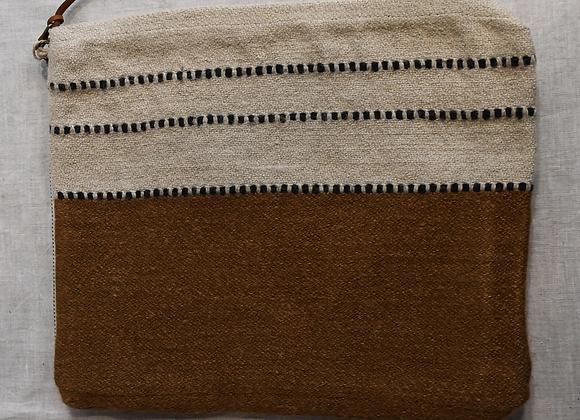 Pochette lin laine et cuir