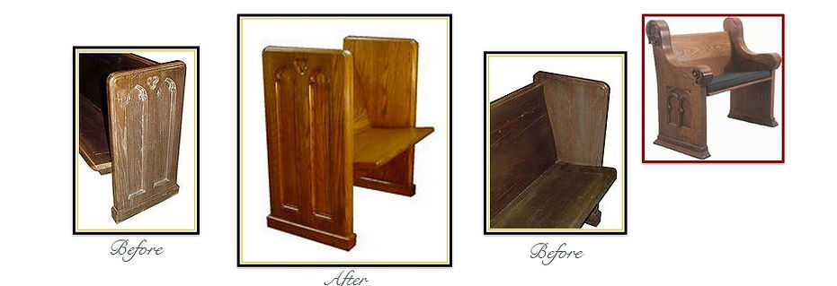 Pew Refinishing Before and After