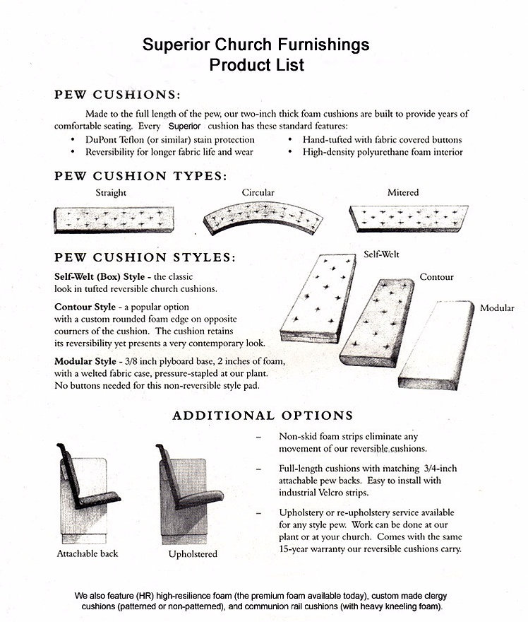Pew Cushion Product List