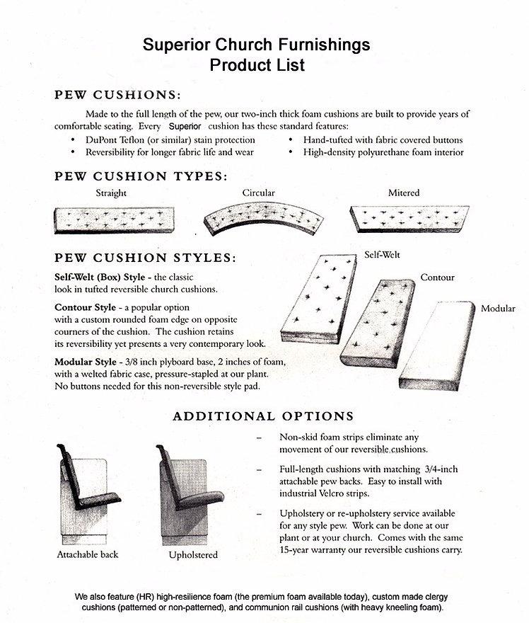 Pew Cushion Product List