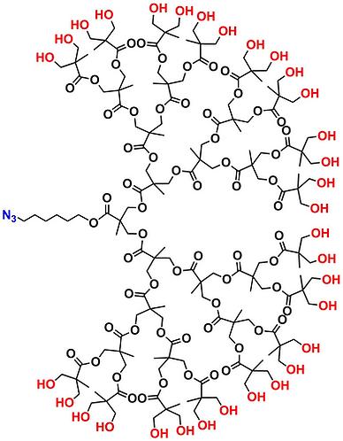bis-MPA Hydroxyl Dendron, Azide Core, Generation 5