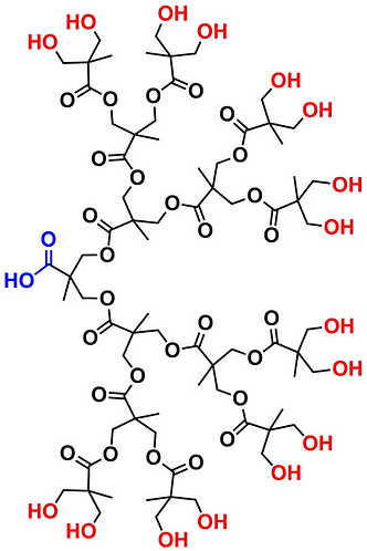 bis-MPA Hydroxyl Dendron, Carboxyl Core, Generation 4