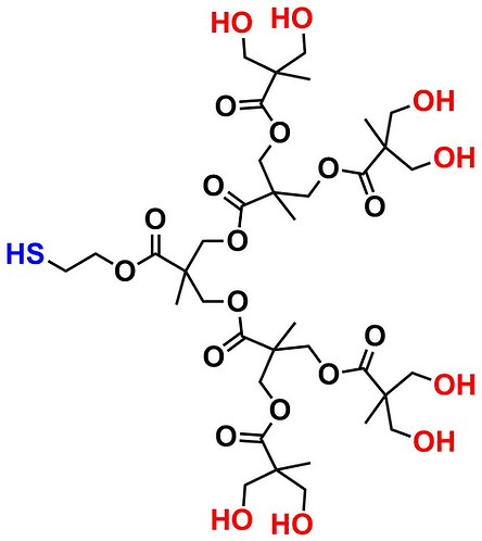 bis-MPA Hydroxyl Dendron, Thiol Core, Generation 3