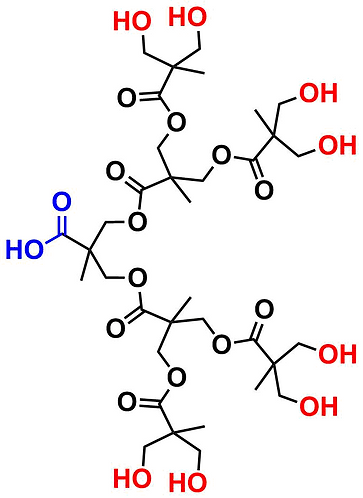 bis-MPA Hydroxyl Dendron, Carboxyl Core, Generation 3