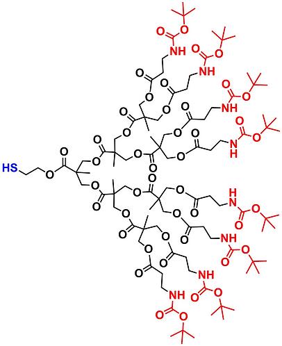 bis-MPA NHBOC Dendron, Thiol Core, Generation 3
