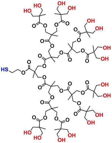 bis-MPA Hydroxyl Dendron, Thiol Core, Generation 4