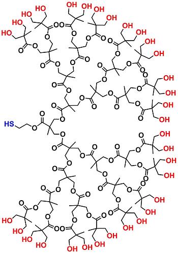bis-MPA Hydroxyl Dendron, Thiol Core, Generation 5