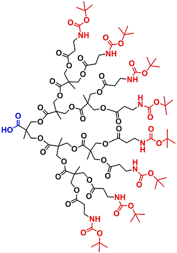 bis-MPA NHBoc Dendron, Carboxyl Core, Generation 3