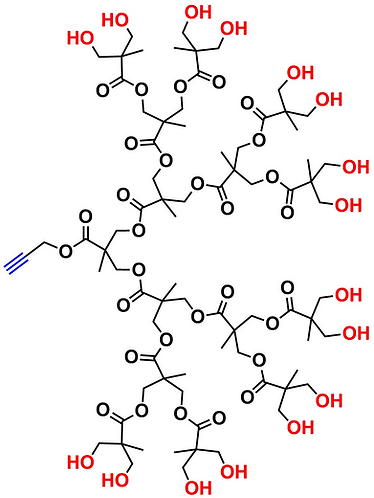bis-MPA Hydroxyl Dendron, Acetylene Core, Generation 4