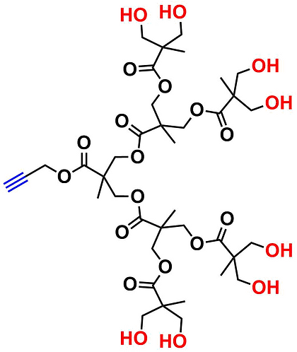 bis-MPA Hydroxyl Dendron, Acetylene Core, Generation 3