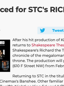 Cast Announced for STC's RICHARD THE THIRD
