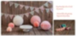 creme taart plateau,gekleurde haarbandjes,roze mompom,