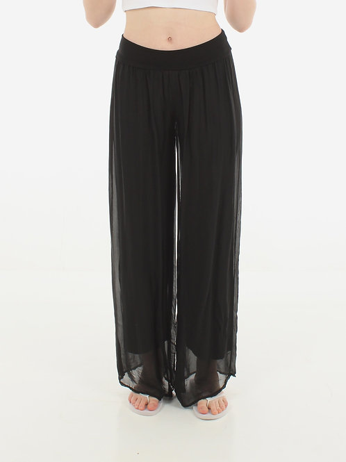 Silk Trousers Black