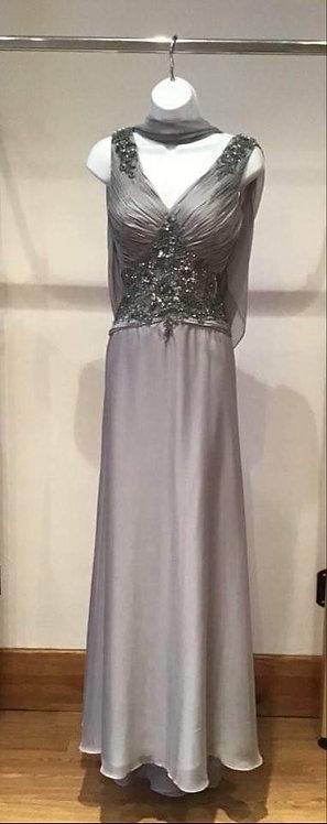 Grey Boned Bodice Chiffon Skirt Dress