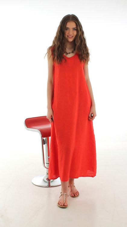 Long V Dress Orange