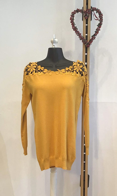 Flower Lace Top Mustard