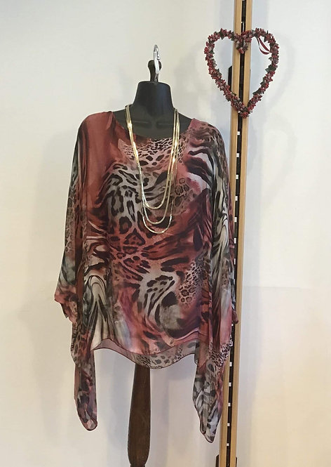 Leopard Print Silk Blouse Red