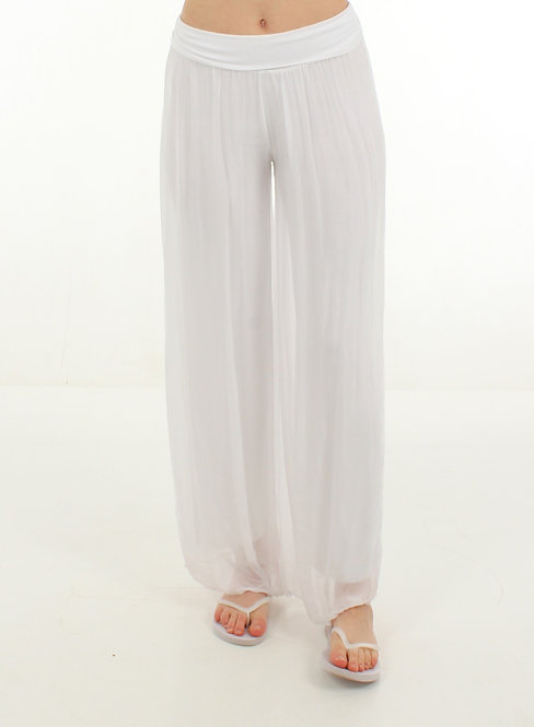 Silk Trousers White