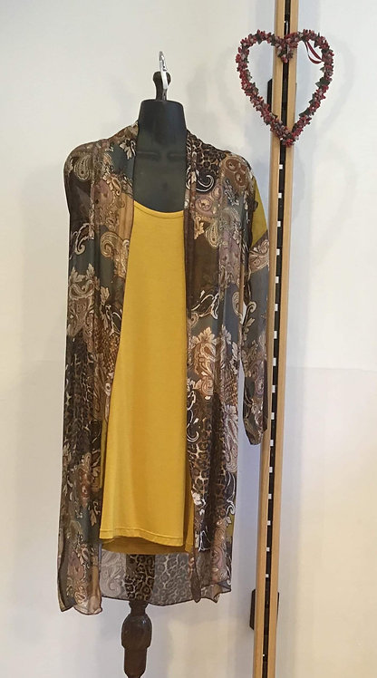 Long Line Top with Silk Over Coat Mustard