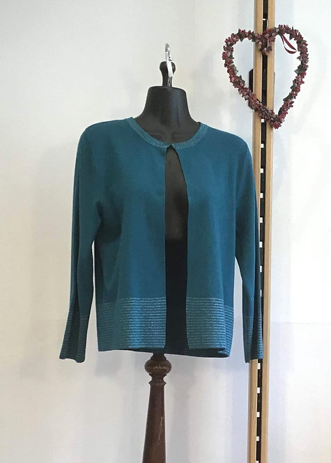 Silver Edge Panel Cardigan Teal